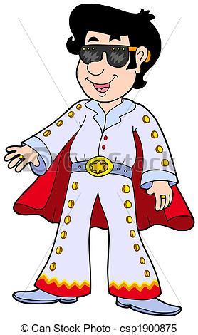 ... Cartoon Elvis impersonator - isolated illustration.