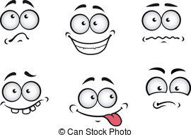 Cartoon emotions faces set for comics design .