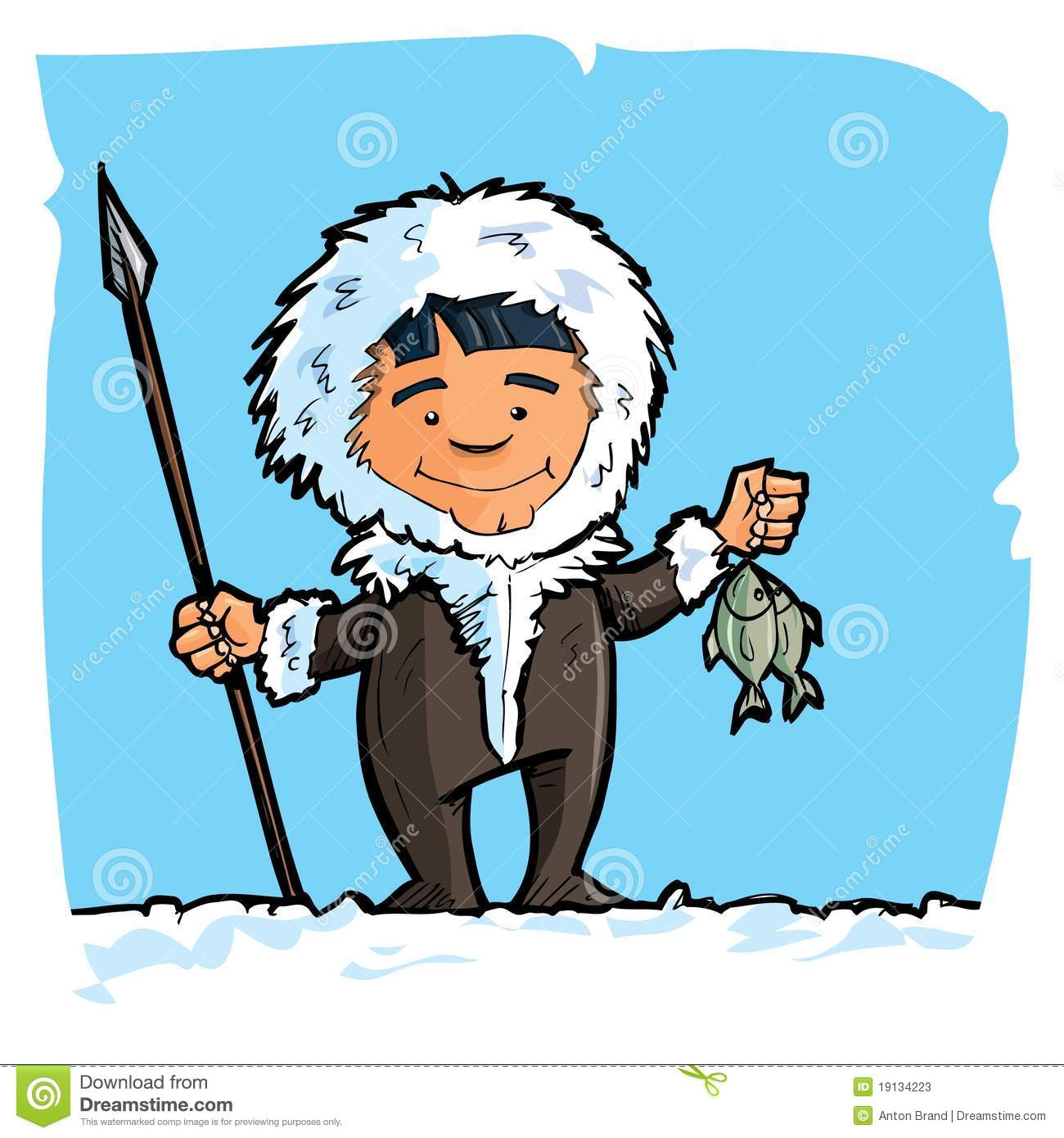 Cartoon eskimo with a spear and a fish S-Cartoon eskimo with a spear and a fish Stock Photos-19