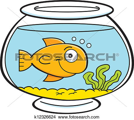 Cartoon fish in a fish bowl