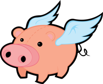 Cartoon Flying Pigs - Clipart - Flying Pig Clipart