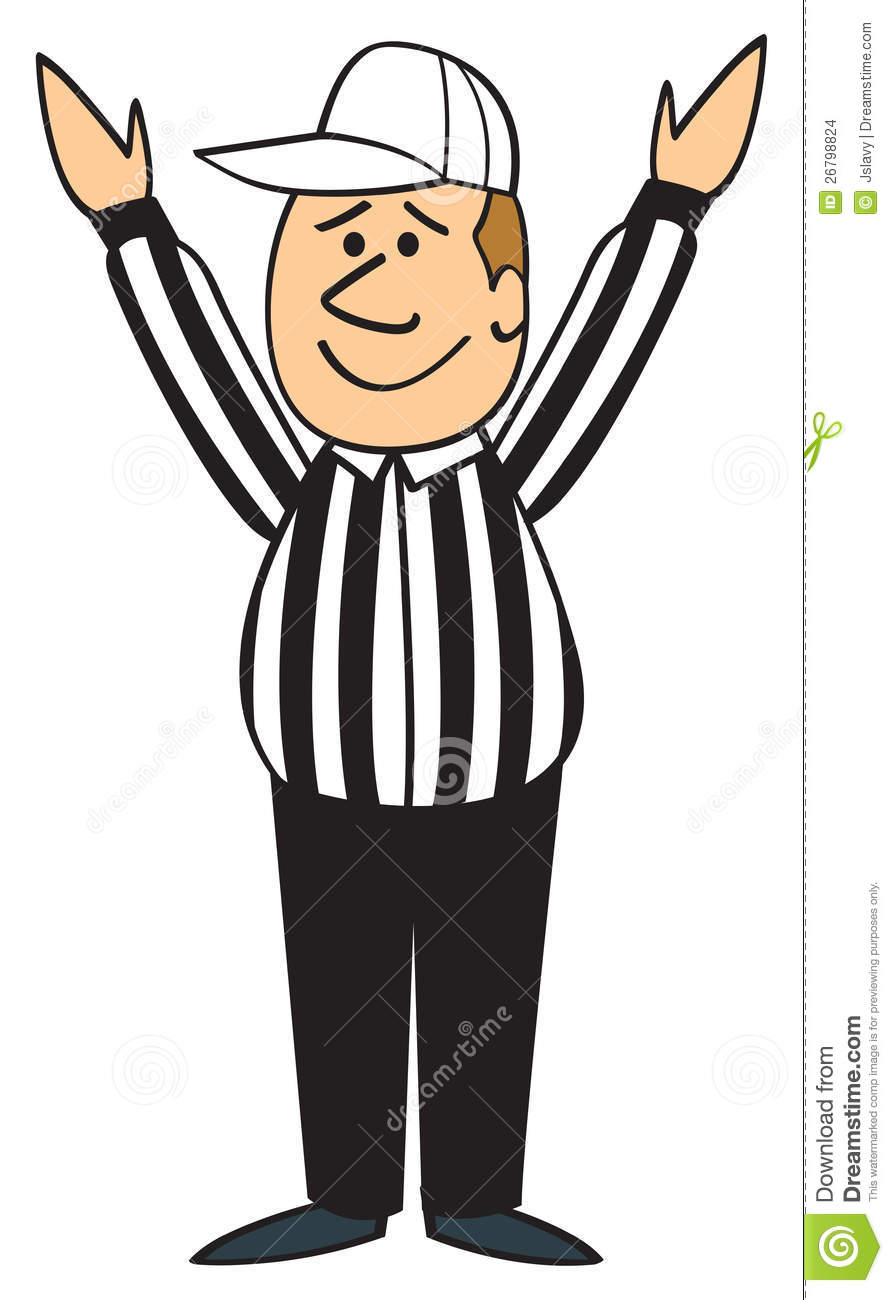 Cartoon Football Referee With His Hands Up Signaling Touchdown