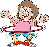 ... Cartoon girl with a hula hoop