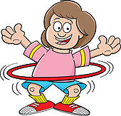 ... Cartoon girl with a hula hoop