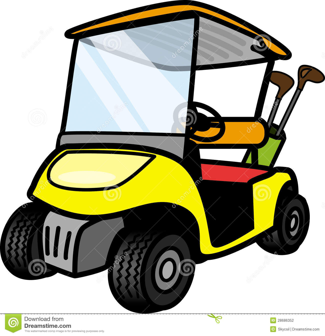 Cartoon Golf Cart Clipart #1