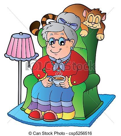 ... Cartoon grandma sitting in armchair - vector illustration.