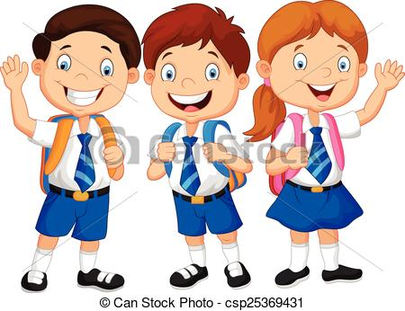 ... Cartoon happy school children - Vector illustration of.