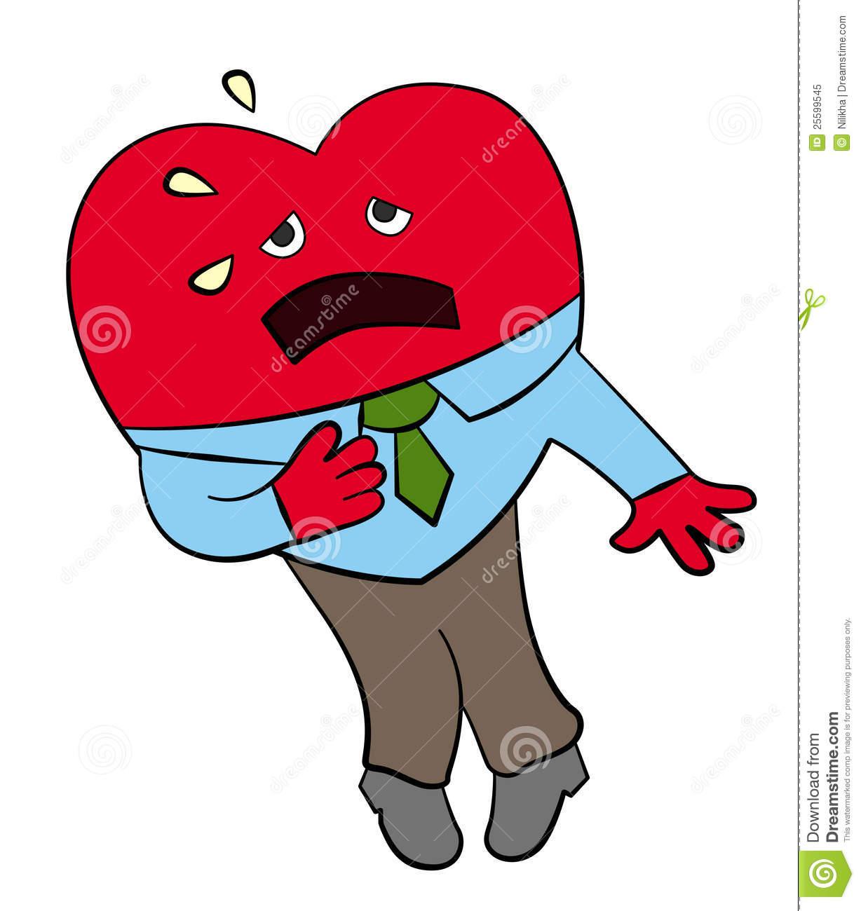 Cartoon Heart Dressed Like A Business Man Having A Heart Attack