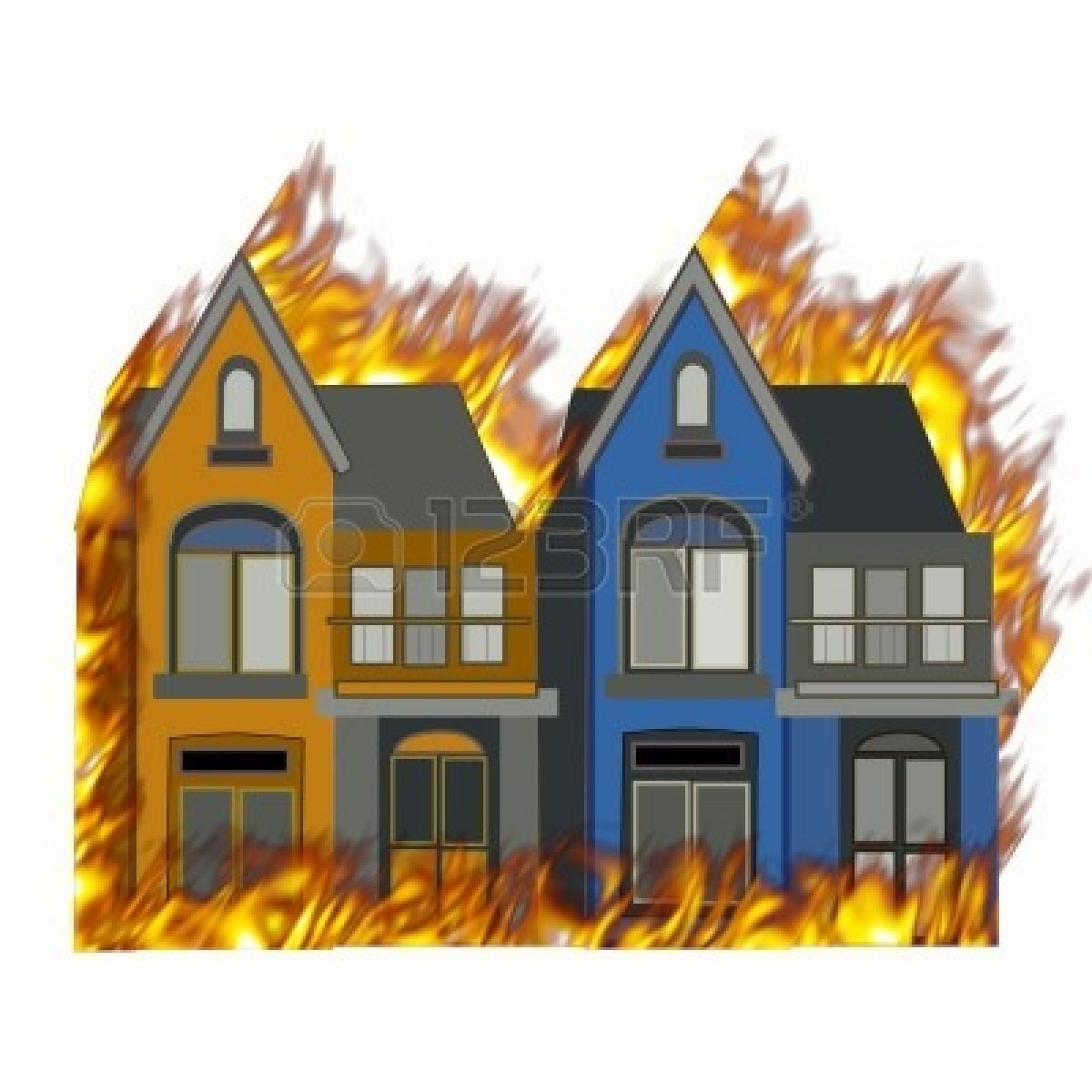 Cartoon House Burning Clipart .