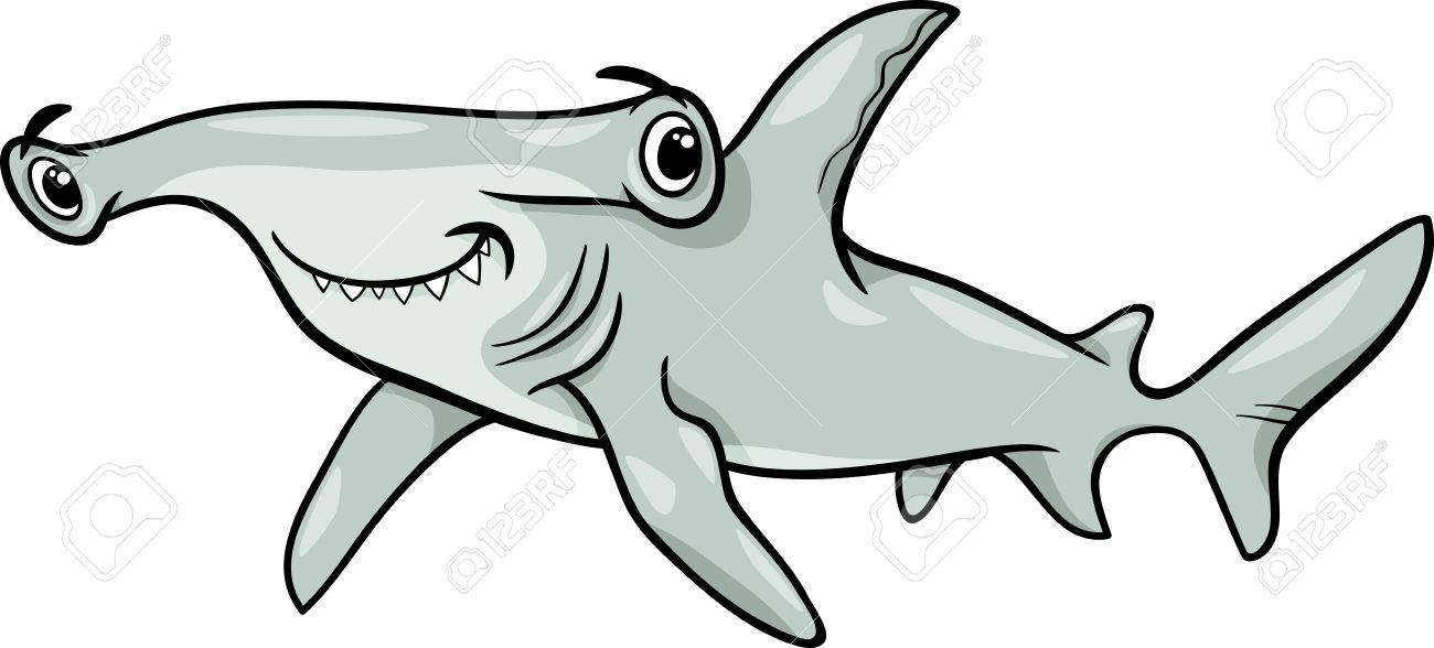 Cartoon Illustration Of Hammerhead Shark-Cartoon Illustration of Hammerhead Shark Fish Sea Life Animal Stock Vector - 28526380-13