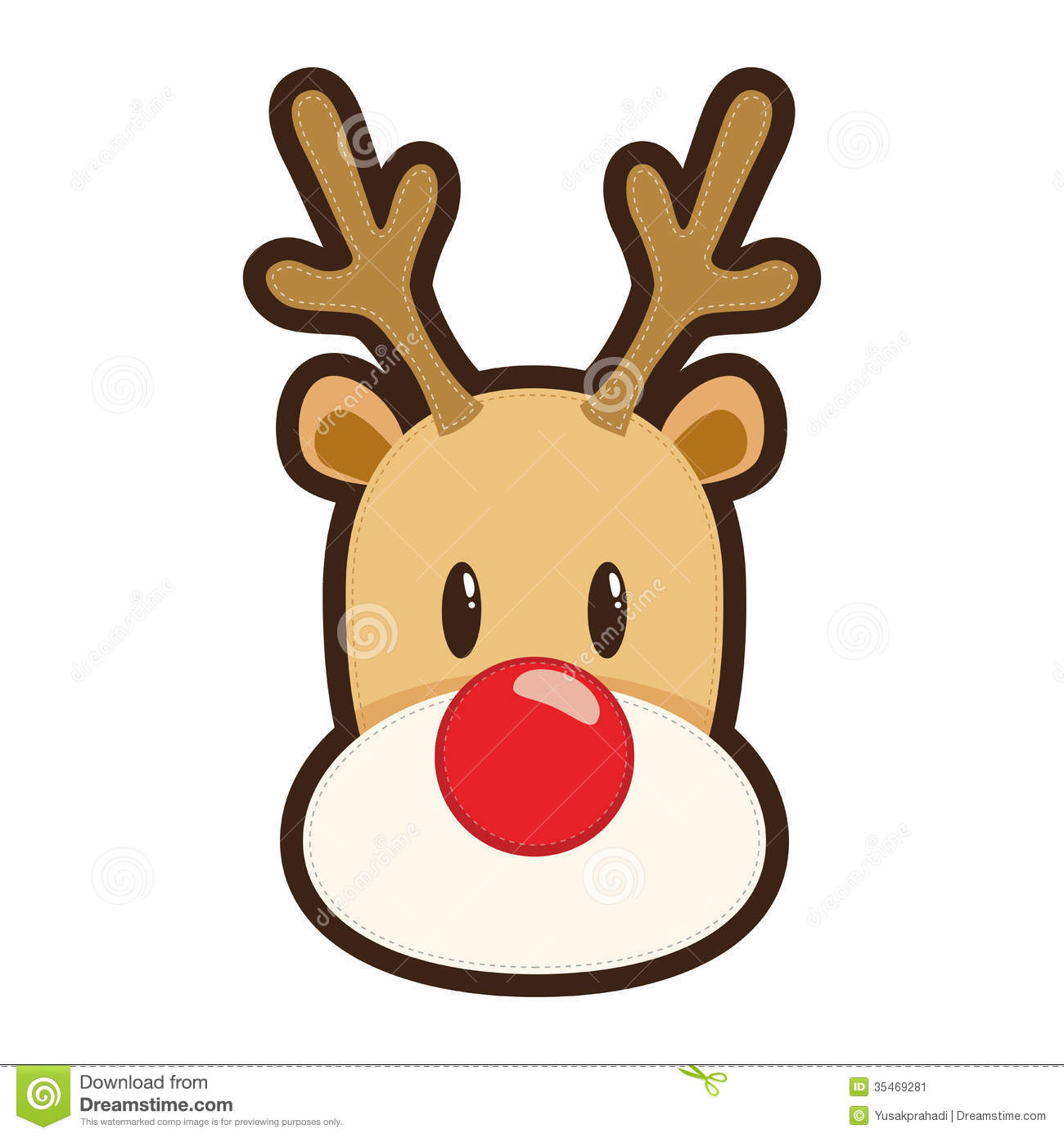 Cartoon Illustration Of Rudolph The Red Nosed Reindeer White