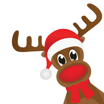 Cartoon Illustration Of Rudolph The Red Nosed Reindeer White. vector art illustration .