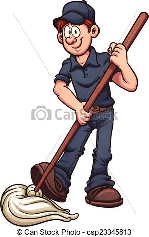... Cartoon janitor. Vector clip art illustration with simple.