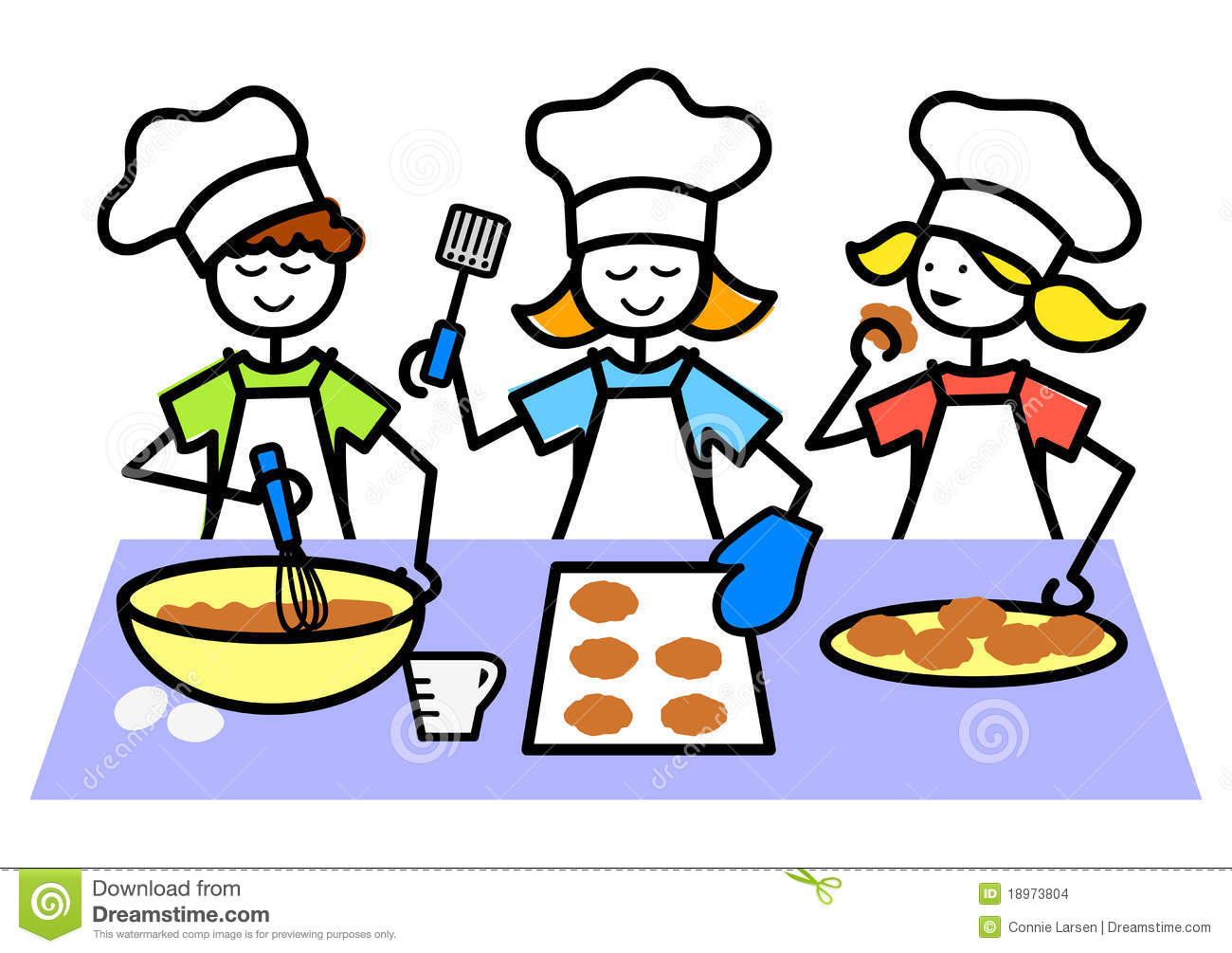 Cartoon Kids Baking Cookies Eps Stock Images Image 18973804