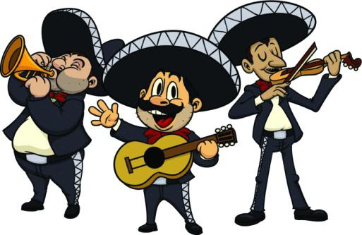 Cartoon Mariachis Vector Art .-Cartoon mariachis vector art .-1