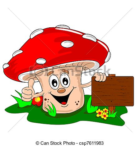 ... Cartoon Mushroom - A Cartoon Mushroo-... Cartoon mushroom - A cartoon mushroom leaning on a blank.-1