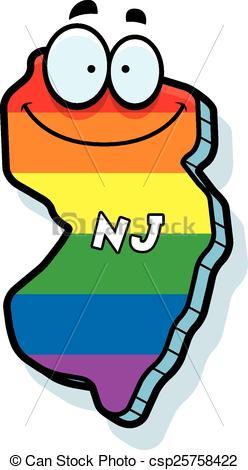 Cartoon New Jersey Gay Marriage - csp25758422
