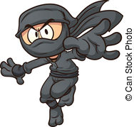 ... Cartoon ninja. Vector clip art illustration with simple.