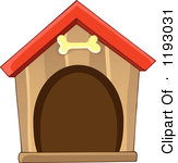 Cartoon Of A Brown Dog House With A Bone-Cartoon Of A Brown Dog House With A Bone Over The Door Royalty Free Vector Clipart-16