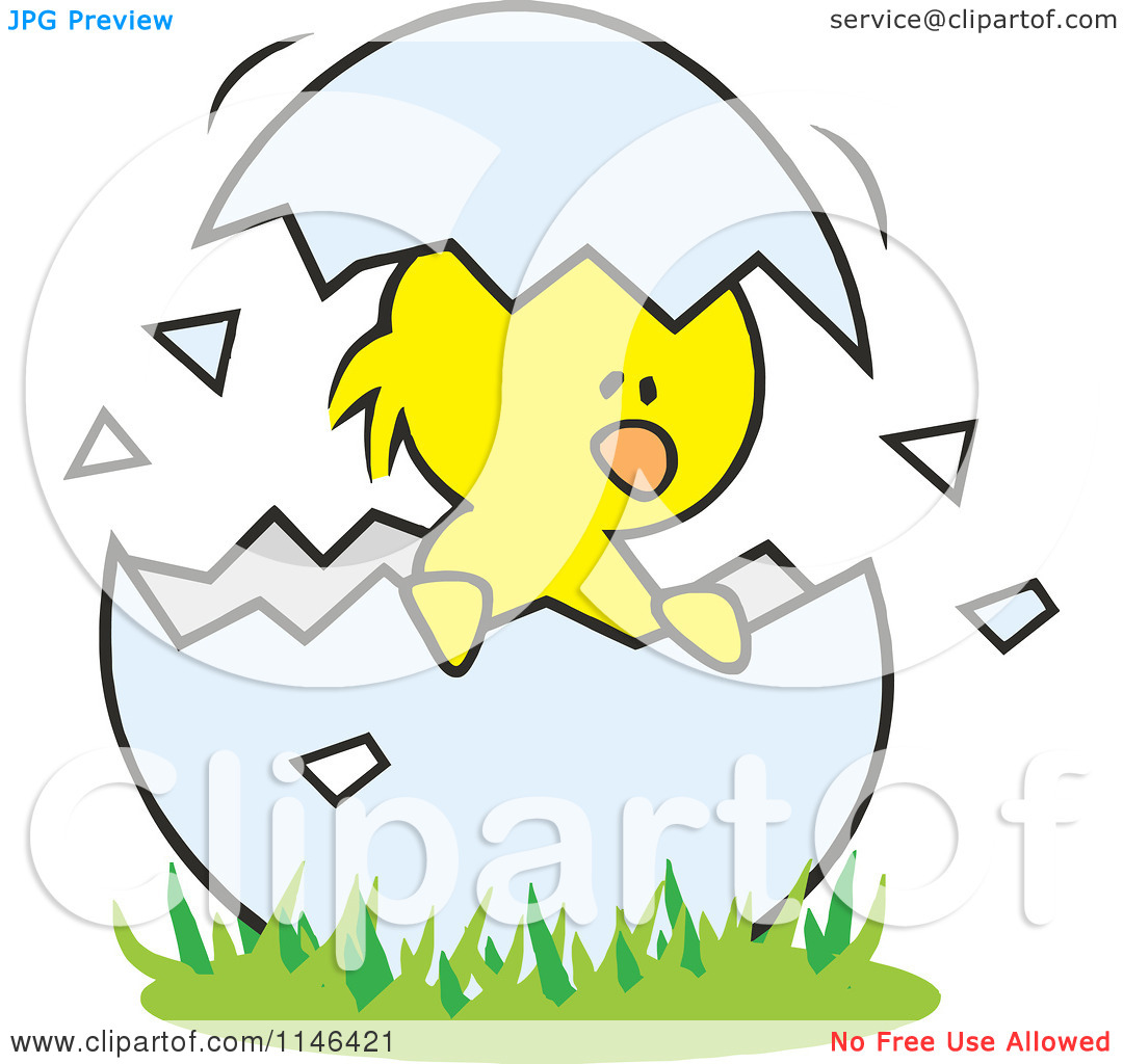 Cartoon of a Chick in a Cracked Egg - Royalty Free Vector Clipart by Johnny Sajem