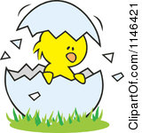 Cartoon Of A Chick In A Cracked Egg Royalty Free Vector Clipart