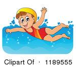Cartoon Of A Happy Girl Swimming Royalty-Cartoon Of A Happy Girl Swimming Royalty Free Vector Clipart-2