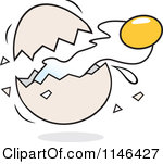 Cartoon Of A Yolk Flying From A Cracked Egg Royalty Free Vector Clipart