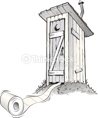 Cartoon outhouse with toilet paper rolli-Cartoon outhouse with toilet paper rolling out of it : Vector Art-19