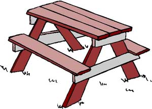 Cartoon picnic table tables clipart