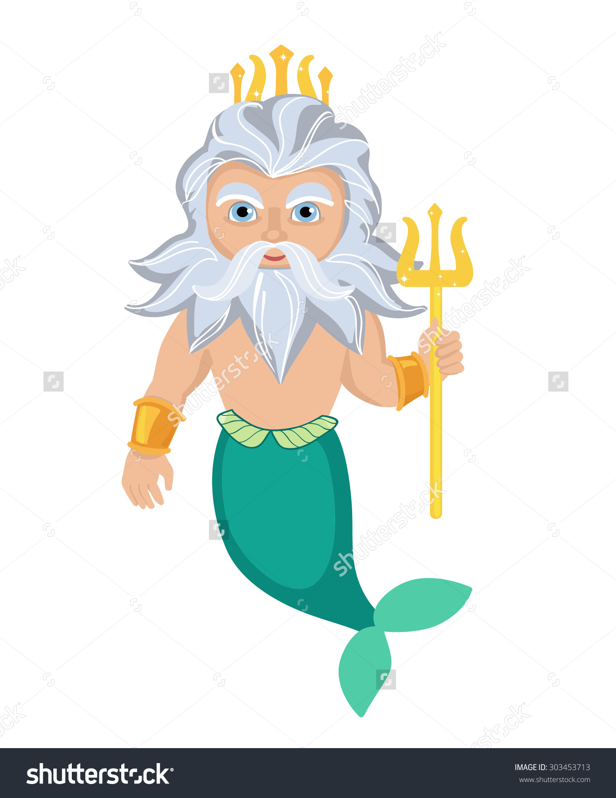 Cartoon Poseidon. Vector clip art illust-Cartoon Poseidon. Vector clip art illustration-13