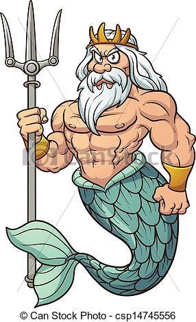 ... Cartoon Poseidon. Vector clip art il-... Cartoon Poseidon. Vector clip art illustration with simple.-2
