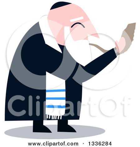 Cartoon Rabbi With Talit Blowing The Shofar The Jewish Holiday Yom Kippur by Liron Peer