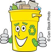 ... Cartoon Recycling Bin - A smiling yellow cartoon recycling.