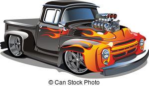 Cartoon retro hot rod isolated on white background.