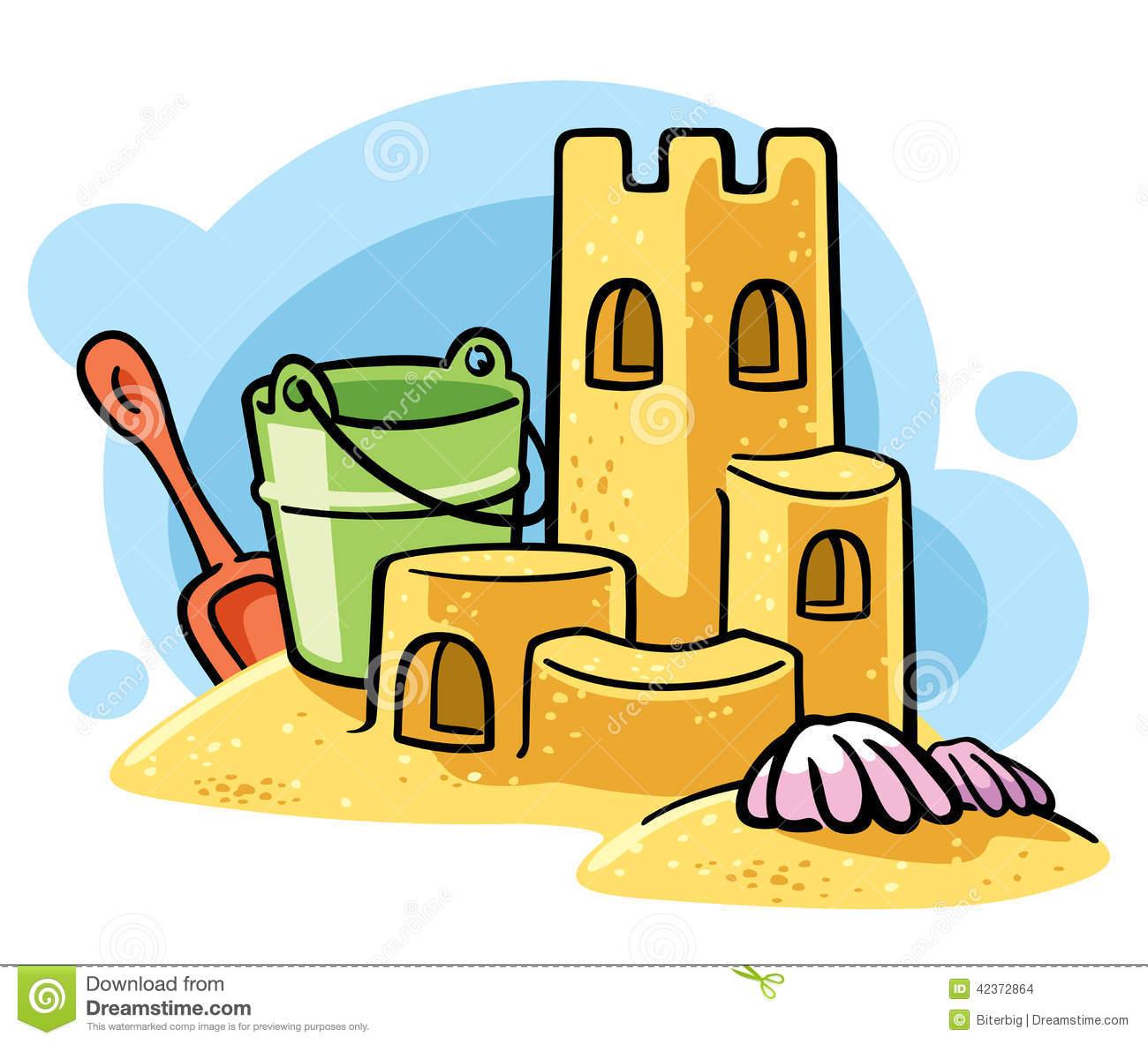 Cartoon Sand Castle Stock Vec - Sandcastle Clipart