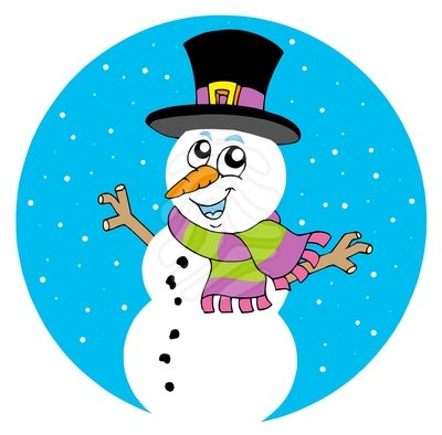 Cartoon snowman - clipart #