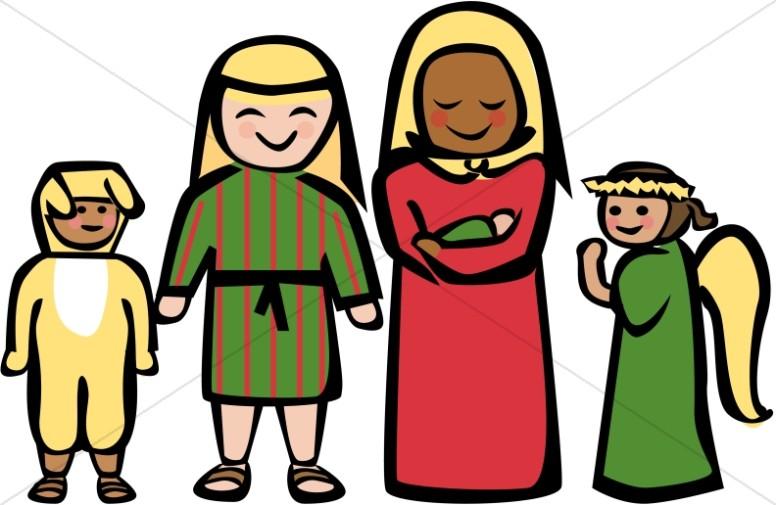 Cartoon Style Holy Family Clipart