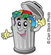 Cartoon trash can - vector illustration. Cartoon trash can Clipartby ...