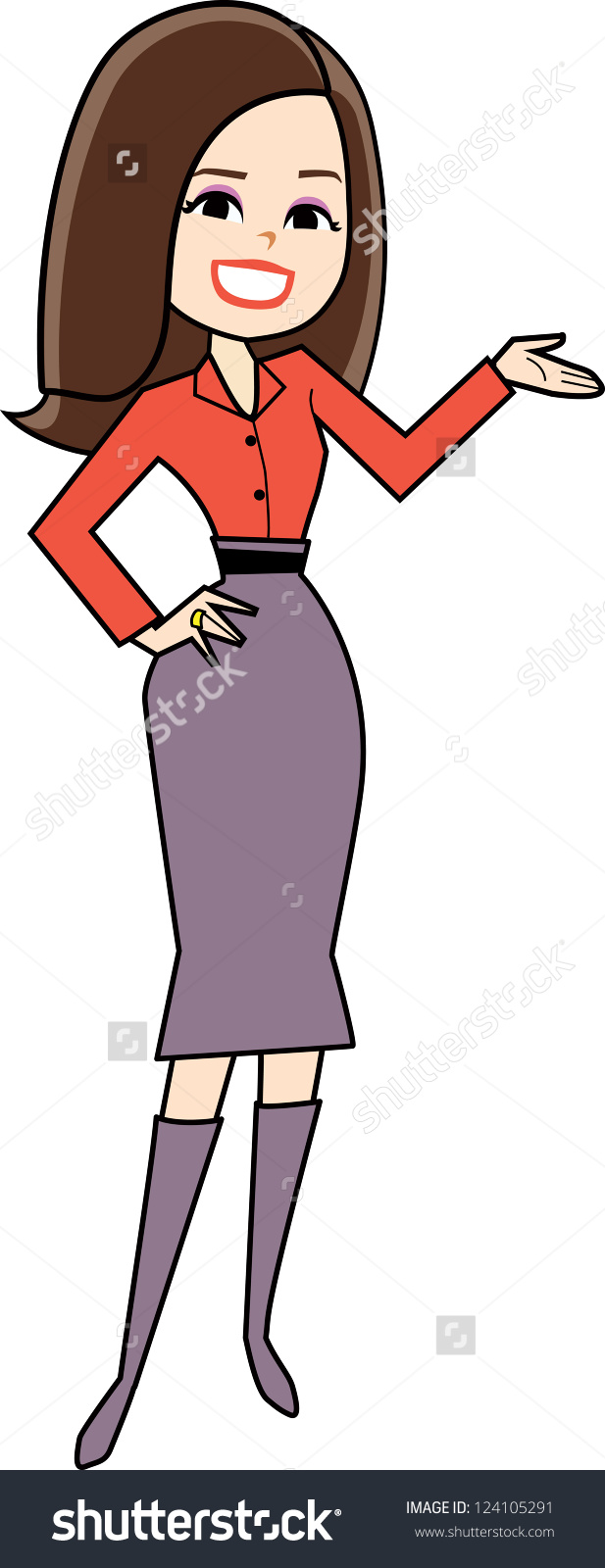 Cartoon Woman Clipart Retro Style Drawing Stock Vector 124105291 .