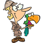 Cartoon Zookeeper Woman with a Parrot