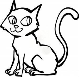 cat clip art black and white