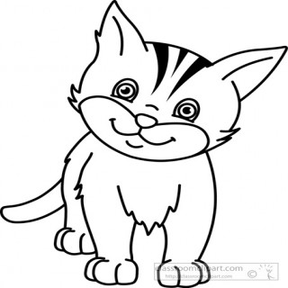 cat clipart black and white