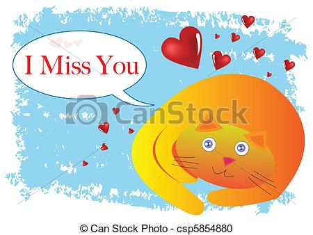 ... Cat I Miss You Illustration in Vector