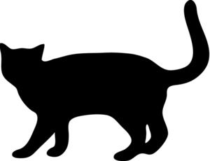 Cat Silhouette Clipart Image: Cat Walking with Tail up
