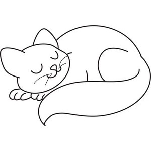 Cat Sleeping Clipart Image .