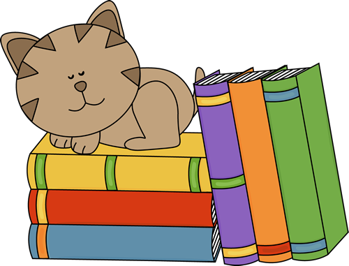 Cat Sleeping on a Stack of Books