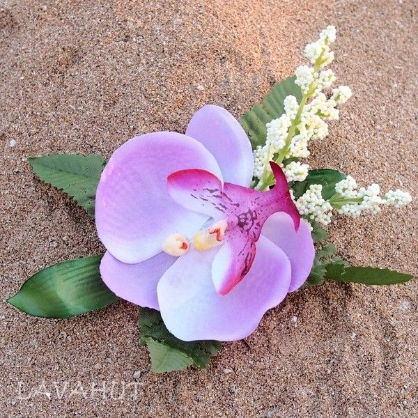 Cattleya Purple Hawaiian Flower Hair Clip ($9) ❤ liked on Polyvore  featuring accessories,