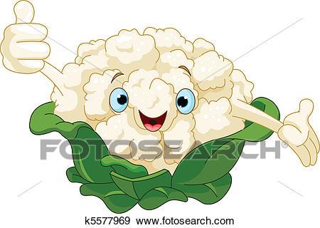 Cartoon Cute Cauliflower Presenting Some-Cartoon cute Cauliflower presenting something-2