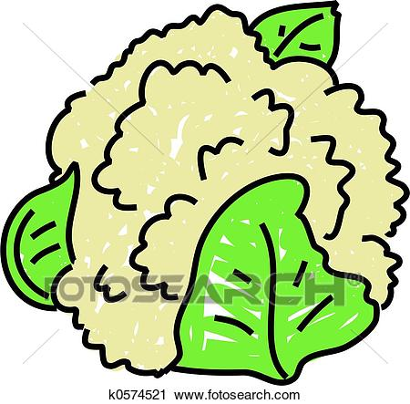 Cauliflower Isolated On White Drawn In T-Cauliflower isolated on white drawn in toddler art style-12