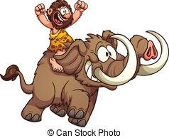 ... Caveman Riding A Mammoth. Vector Cli-... Caveman riding a mammoth. Vector clip art illustration with.-15